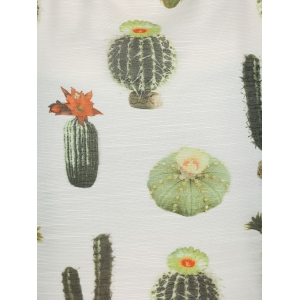 Oversized Fashion Cactus Plant Print Chiffon Blouse - OFF WHITE XL