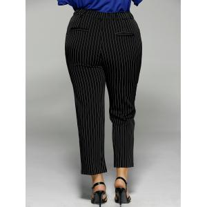 Plus Size Vertical Stripe Pocket Ankle Pants -