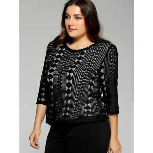 Plus Size Lace Openwork  Blouse -