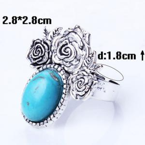 Artificial Oval Turquoise Etched Rose Charm Ring -
