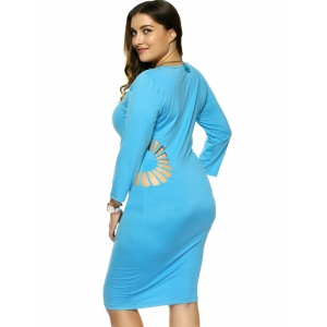 Plus Size Hollow Out Skinny Slimming Dress -