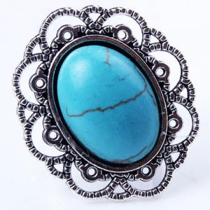 Retro Style Cut Out Etched Floral Oval Fuax Turquoise Ring -