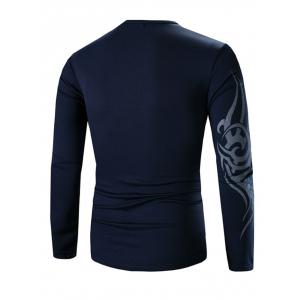 Round Neck Long Sleeves Tee - DEEP BLUE 3XL
