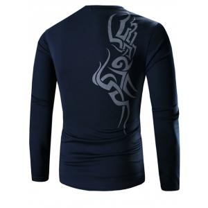 Round Neck Long Sleeves Printed Tee - DEEP BLUE 3XL