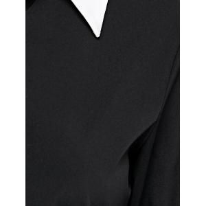 Long Sleeve Splicing Buttoned Contrast Color Dress - BLACK XL