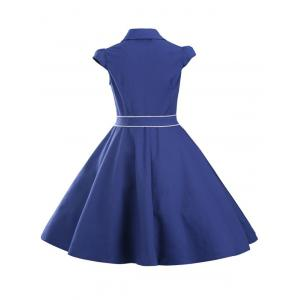 Retro Jabot Ruffle Cape Sleeve Button Flare Dress - SAPPHIRE BLUE L