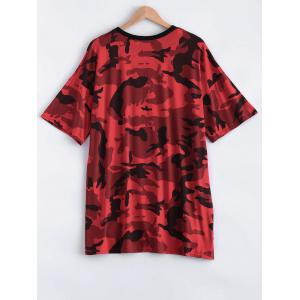 Cut Out Camo Print High Low T-Shirt Dress - RED ONE SIZE