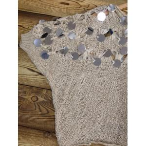 Batwing Sleeves Openwork Sequined Sweater -