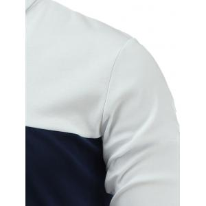 Long Sleeve Color Block Letter Printed Polo Shirt - WHITE 3XL