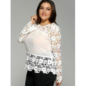 Plus Size Spliced Crochet Openwork Blouse -