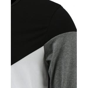 Round Neck Long Sleeve Color Block Tee - BLACK 3XL