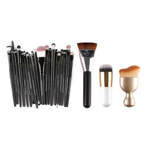 MAANGE5152 20 Pcs Makeup Brushes Set + 8 Pcs Makeup Sponges + S-Shape Blush Brush + Foundation Brush + Contour Brush - COLORMIX