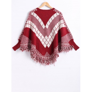 Dolman Sleeves Geometric Pattern Fringed Cape - RED ONE SIZE