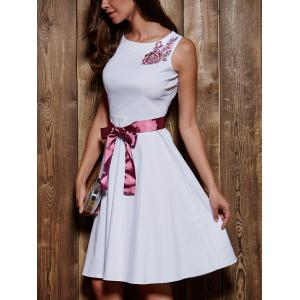 Round Neck Sleeveless Embroidered Bowknot Dress -