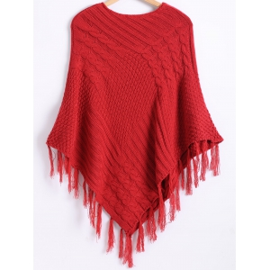 Pure Color Textured Fringed Knitted Cape -
