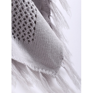 Funnel Neck Fringe Knitted Cape - GRAY ONE SIZE