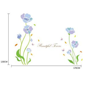 Home Decor Flower Plant Cabinet Window Removable Wall Sticker - LIGHT PURPLE