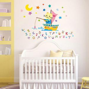 Alphabet Letters Cartoon Cat Fishing Kids Room Wall Stickers -