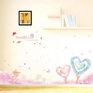 Room Decor Love Heart Tree English Quote Wall Sticker - PINK