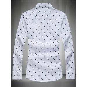 Turn-Down Collar Long Sleeve Geometric Print Shirt -