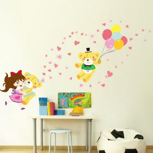 Colorful Cartoon Cute Girl and Bear Removable Decorative Wall Art Sticker -