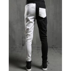 Spliced Design Slim Fit Casual Pants -