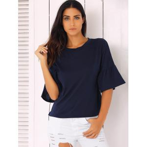 Bell Sleeve Solid Color T-Shirt -