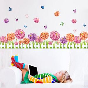Fence Flower and Butterfly Design Home Decor Wall Sticker -