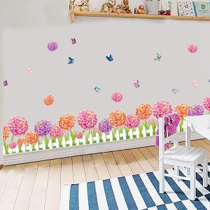 Fence Flower and Butterfly Design Home Decor Wall Sticker - ROSE RED