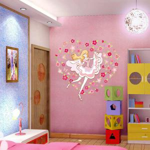 DIY Flower Girl Decorative Vinyl Wall Stickers For Kids Rooms - COLORMIX