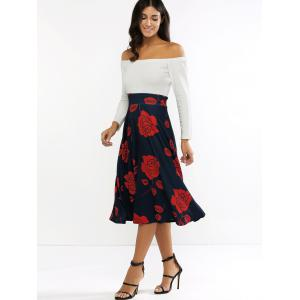 Long Sleeve Off The Shoulder Floral Print Midi Dress -