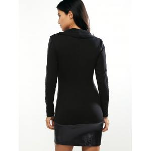 Turtle Neck Long Sleeve PU Splice Bodycon Dress - BLACK M