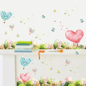 Removable Mew Forest Heart Printed Home Decor Wall Sticker - GREEN