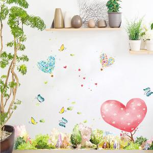 Removable Mew Forest Heart Printed Home Decor Wall Sticker -