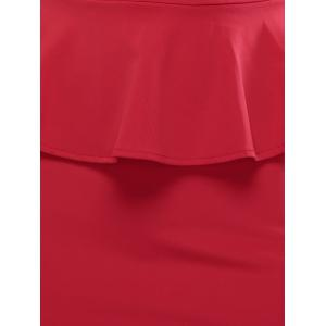 Sleeveless Bodycon Midi Peplum Dress - RED XL