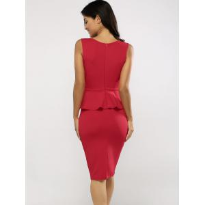 Sleeveless Bodycon Midi Peplum Dress - RED 2XL