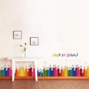 Removable Colorful Pencil Back To School Room Wall Sticker - COLORFUL