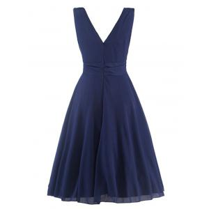 Plunging Neck High-Waisted Ruched Dress -