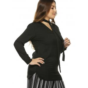 Plus Size V Neck Tie Long Sleeve T-Shirt -
