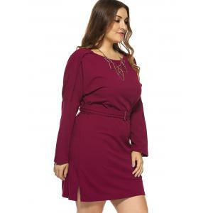 Plus Size Jewel Neck Long Sleeve Dress - RED 4XL
