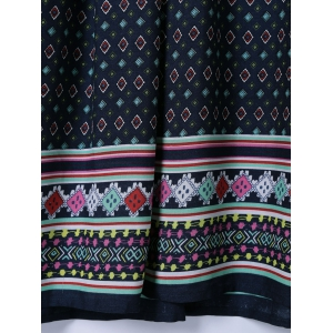 Ethnic Tribal Print Smock Dress - PURPLISH BLUE XL