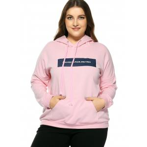 Plus Size Hooded Long Sleeve Letter Hoodie - PINK 4XL