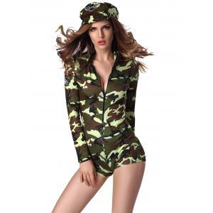Letter Cap and Camo Printed Zipped Romper -
