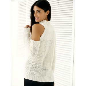 Warm Cold Shoulder Sweater - WHITE ONE SIZE