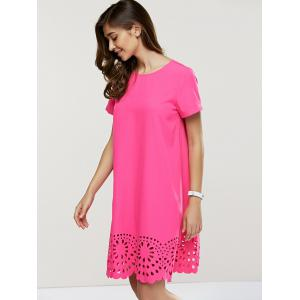 Crochet Pure Color Short Sleeve Dress -