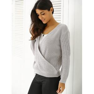 Plunging Neck Loose-Fitting Sweater -