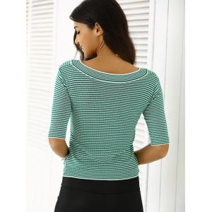Striped Knitted Twist Front T-Shirt -