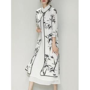 Bamboo Print Side Slit Mandarin Collar Cheongsam Dress Twinset -