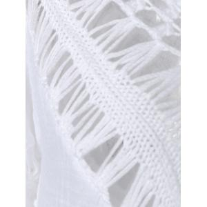 Plunge V Neck See-Through Crochet Tunic Top - WHITE ONE SIZE