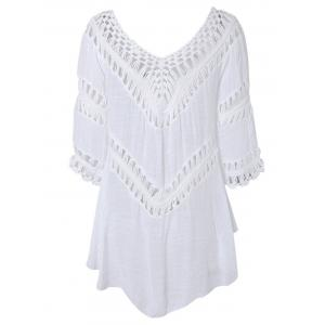 Plunge V Neck See-Through Crochet Tunic Top -